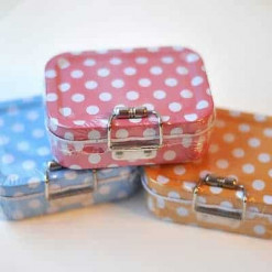 Polka Dot Sewing Kit in a Tin - 8cm x 6cm x 2.8cm 60 Pieces - 3 Colours Avail[Orange]-10